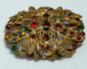 Multicolored Rhinestone Brooch Brass Apparel & Accessories Jewelry Vintage Jewelry Brooch Rhinestone