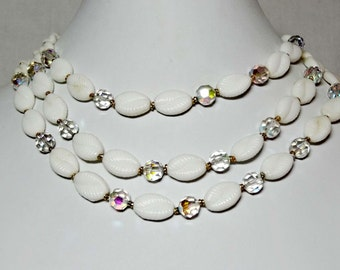 Western Germany. Acrylic White and Clear Beads Beaded Necklace  Apparel & Accessories Jewelry Vintage Jewelry Necklace