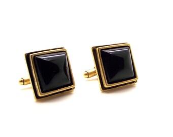 Splendid Black Onyx Cuff Links - Men's Black Cuff Links – Black Square Cuff Links
