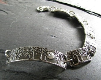 Moonlight No. 5, Moon and Trees Bracelet, Handmade Continuous Links in Recycled Silver, Artisan Original by SilverWishes