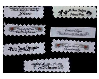 Clothing Labels Custom Fabric Sew In Sewing 60 Garment Tags Personalized Designer Made Designed by  Sewing Labels