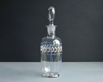 Antique Blown Glass Decanter with Gilt and Enameled Decoration circa 1900 Barware