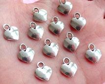 Mini Heart Charms (12pcs) (10mm x 13mm / Tibetan Silver) Findings Pendant Bracelet Earrings Zipper Pulls Bookmarks Key Chains CHM706