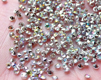 2mm Pointed Back Rhinestones / Tip End Acrylic Rhinestones (200-250pcs / SS5 / AB Clear) Bling Bling Faceted Rhinestones Decoden RHE083