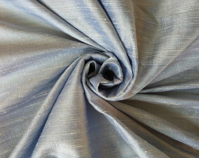 "Light Baby Blue 100% dupioni silk fabric yardage By the Yard 45"" wide"
