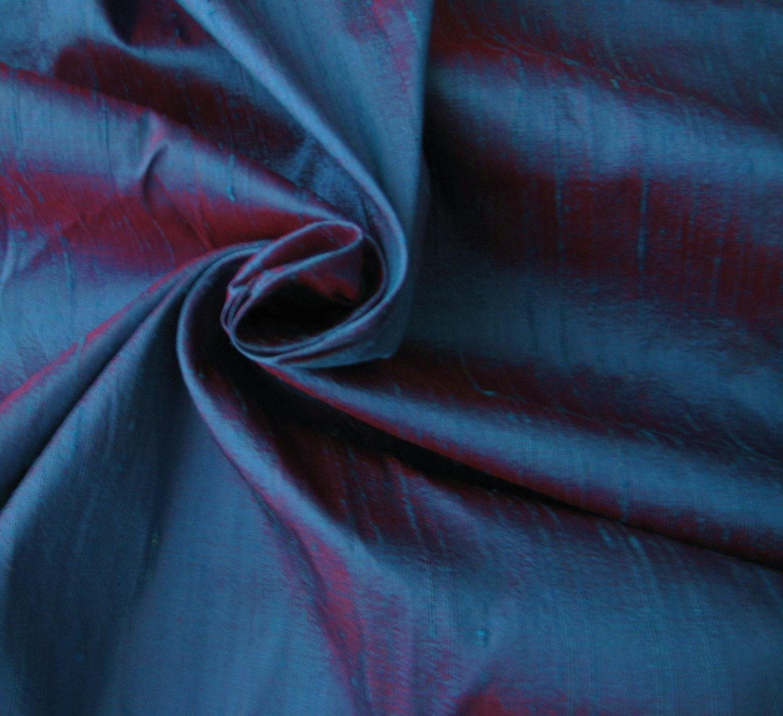Blue Red Iridescent 100 Dupioni Silk Fabric Yardage By The