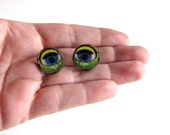 creepy doll eye collar pins . scatter pin set of 2 . wooden doll eye brooch set . doll eye tie tack pins . Halloween lapel pins . #J