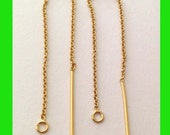 on sale 10 pieces 14k Yellow gold filled threader Earring ear wire cable chain earwires GE16