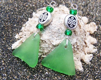 Sea Glass/Beach Glass Earrings in True Green with Silver Celtic Knot Beads and Glass Beads on Sterling Silver Ear Wires EG 35