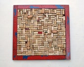 Red & Blue Wine Cork Board with Wormwood-like Distressed Frame