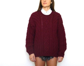 80s Lands End Burgundy Oversized Chunky Cable Knit Sweater s m l