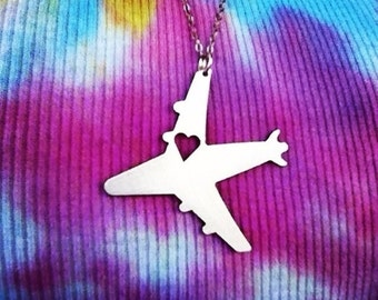 I Heart Travel Airplane - Necklace Pendant or Keychain - Design 2