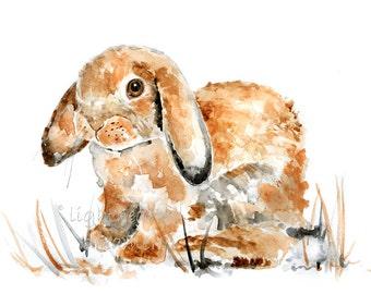 Bunny Print, Spring Nursery, Bunny Painting, Easter, Baby Gift, Baby Girl Nursery, Rabbit Watercolor Print, brown, Bunny Nursery Decor