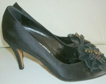 "80s Vintage Andrea Pfister Marshall Field's black silk satin finish lace sequin flower platform 4"" heels 11"