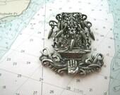 1940s Artbalines Altar Brooch Elaborate Detail Rice Weiner ? Cast Silver Metal