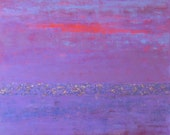 large purple abstract painting, purple and lilac abstract art with gold, copper and bronze, titled glimmer