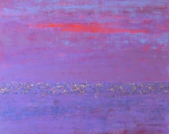 SALE large purple abstract painting, purple and lilac abstract art with gold, copper and bronze, titled glimmer