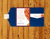 Fall Theme Wedding Pocketfold Invitations