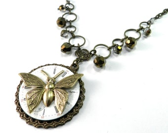 Steampunk Butterfly Necklace, Vintage Pocket Watch Dial Steam Punk Necklace Victorian Steampunk Jewelry by Compass Rose Design, ON S