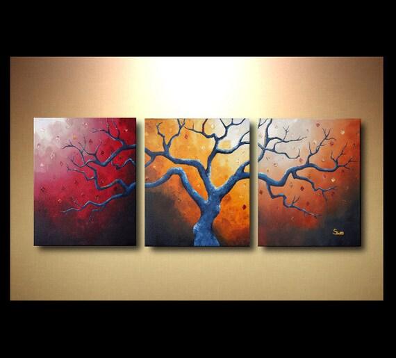 Arbre de triptyque grand art abstrait peinture 20 x 48 moderne - Peinture acrylique triptyque ...