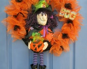 Boo Witch with Pumpkin Halloweeen Door or Wall Wreath Decoration Bats Ghosts FREE SHIPPING Next Business Day