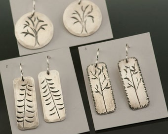 Your Choice - 1 pair of Hand stamped Silver Rustic Earrings, blackened Sterling Silver, 3 Options, Listing is for 1 pair of earrings