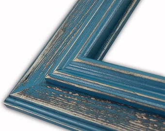 Distressed Frame, Rustic, Hand Painted, Lagoon Teal Blue, Lauren Collection, Shabby Chic, Wedding Frame, 16x20, 11x14, 8x10, 5x7, And More