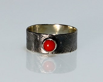 """Size 6 Ring Handcrafted Sterling Silver and Red Coral """"Simply Red""""  Textured Wide Band Contemporary Artisan Jewelry Design 464436837614"""