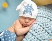 Newborn Baby Boy Sleepy Cap, Star Patch Sleepy Cap, Baby Boy Knotted Jersey Hat, Upcycled Baby Hat, Newborn Baby Boy Photo Prop