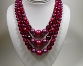 Raspberry Red Bead Choker 3 Strand Lucite Plastic Necklace 1950's Chunky 16 mm Beads 17 inch Choker Reds Pinks Full Choker Necklace