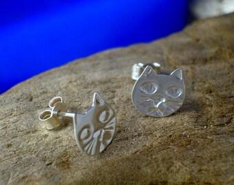 Cat Head Studs, Cat Studs,  Sterling Silver, Handmade, Cats, Cat Jewellery, Kitten Jewellery, Cat lover Gift, Animal Jewelry, Cat Earrings.