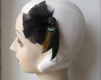 noir 1920s black feather fascinator with green accents black rhinestones 20's hair clip 30's feather clip- elsbeth