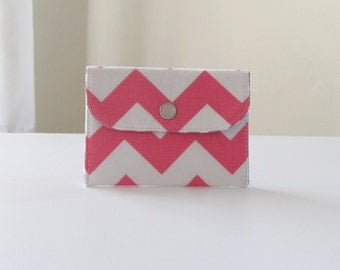 Pink Chevron Coin Purse; Handmade Fabric Card Case; Gray and Pink Card Wallet - PREORDER