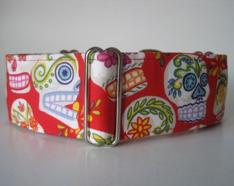 Red Martingale Collar, Day of the Dead Dog Collar, Day of the Dead Martingale Collar, 1.5 Inch Martingale Collar Greyhound Martingale Collar