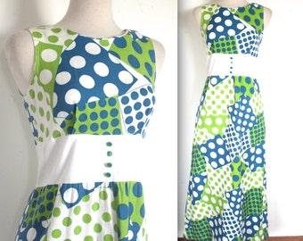 Vintage 1960's Dress // 60s Long Blue and Green Polka Dot Patchwork Print Dress // Brady Bunch // DIVINE