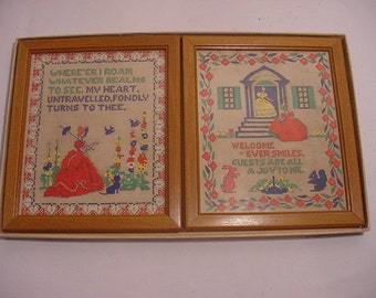 Vintage Set Of Two Buzza Sampler Pictures In Original Gift Box   14 - 103