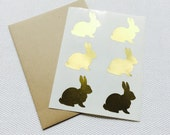 Bunny Stickers / Labels in Gold Foil, Gloss White or Kraft