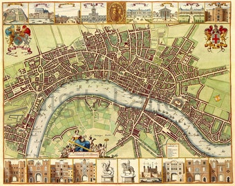 Antique LONDON MAP - Old Map of London England -  Instant Download Digital Printable Pictorial Uk Map