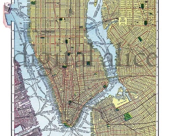 Vintage NEW YORK CITY MAp - Old Map of NYCity Ny -  Colorful Antique Map Instant Download Digital Printable Map