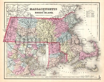 Vintage MASSACHUSSETTS and RHODE ISLAND MAp - Old Map 1855 Mass and Ri -  Instant Download Digital Printable Map