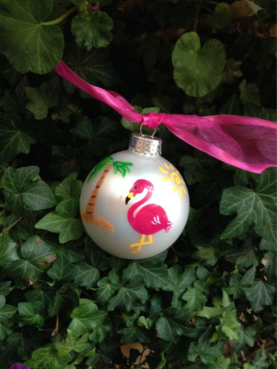 pink flamingo ornament beach vacation personalized hand