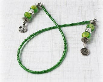 Green Bookmark Beaded Bookmark Book Thong Book String Book Cord Book Lover Reader Gift Book Worm Book Bling Reading Tool Place Holder