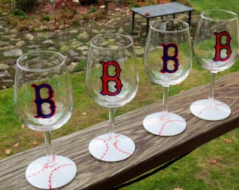 Wine Glass Boston Red Sox Hand Painted 10 ounce size