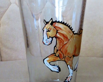 Beer Glass Hand Painted Clydesdale Horse Copper Gold