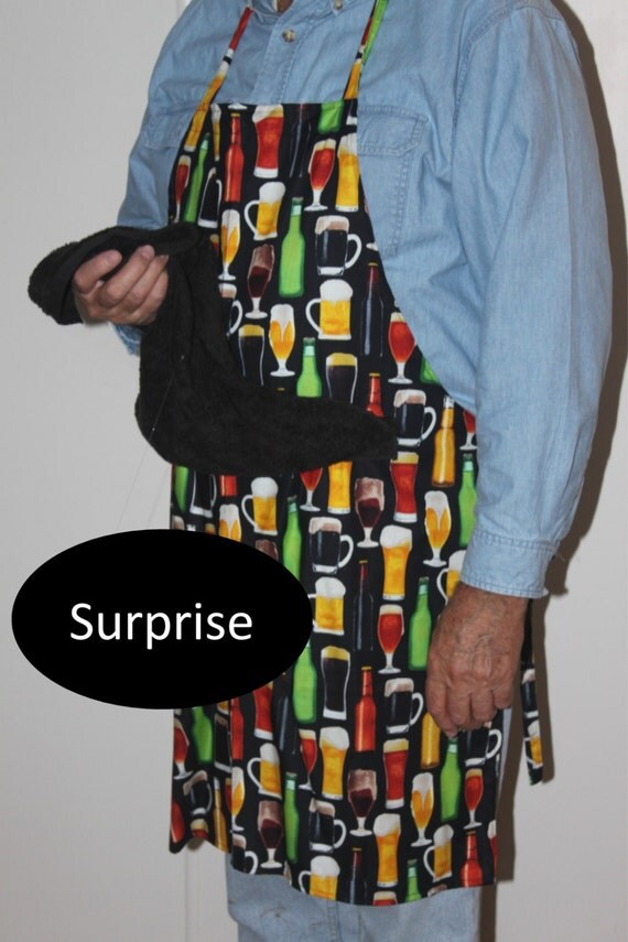 CUSTOM LISTING for Kandlerm--Last  One, Fabric Discontinued--Beer Mug Apron w/ Penis Hidden Under Attached Towel - Mature Content
