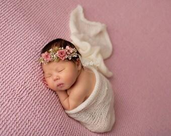 Baby's Breath and Rose Tie Back Headband