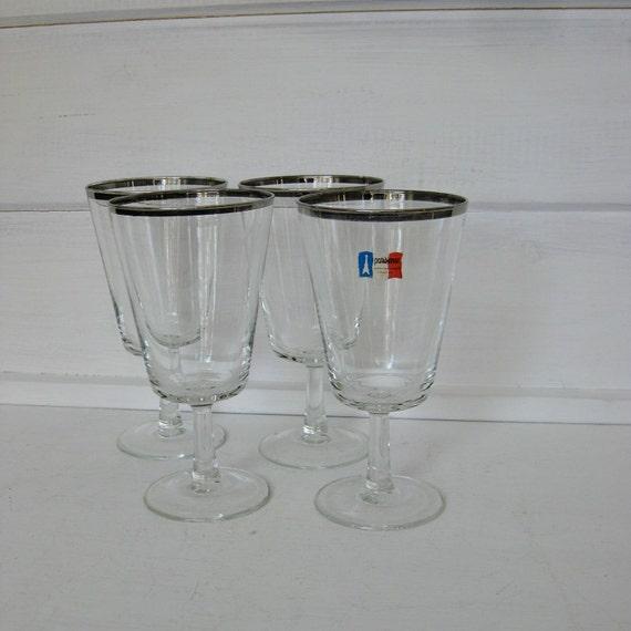 french silver rimmed stemmed water goblets. Black Bedroom Furniture Sets. Home Design Ideas