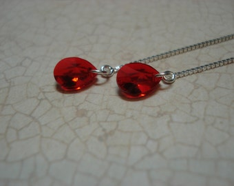 Small Red Swarovski Crystals on Sterling  Ear Threads- Threader Earrings/Necklace-FREE SHIPPING To U.S.-