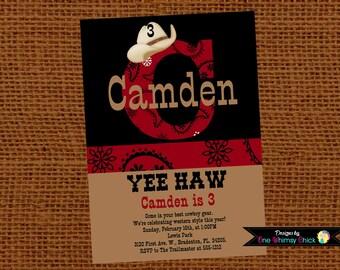 Cowboy Birthday Party Invitation - Printable or Printed - Cowboy Party Supplies - Party Decorations