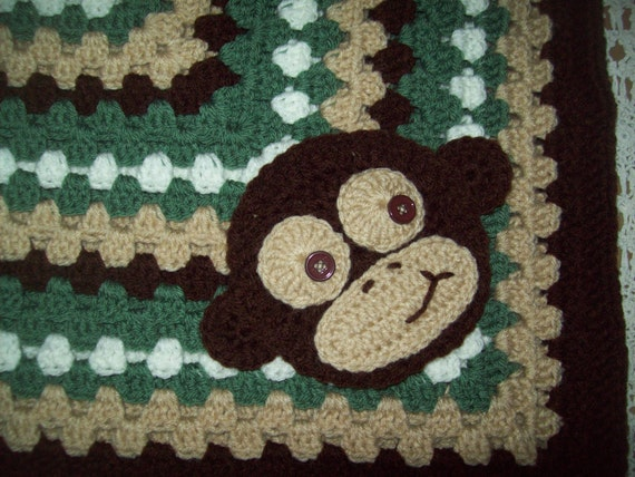 Crocheted Baby Infant Sweet Monkey Jungle Camo Crib Blanket